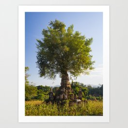 Tree growing out of a stupa in Hsipaw, Myanmar | Travel photography Asia Art Print