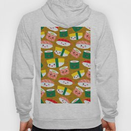 pattern Kawaii funny sushi set with pink cheeks and big eyes, emoji on brown mustard background Hoody