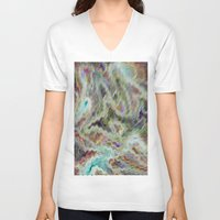 monet V-neck T-shirts featuring Monet Style Pastel Abstract by David Pyatt