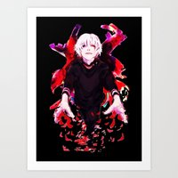 tokyo ghoul Art Prints featuring Kaneki Tokyo Ghoul 4 by Prince Of Darkness