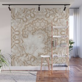 Butterfly on mandala in iced coffee tones Wall Mural