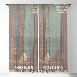Vintage poster - Sequoia National ParkX Sheer Curtain