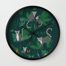 Lemurs in the Forest Wall Clock