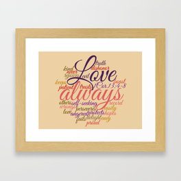 Christian Love Never Fails 1 Cor. 13:1-8 Framed Art Print