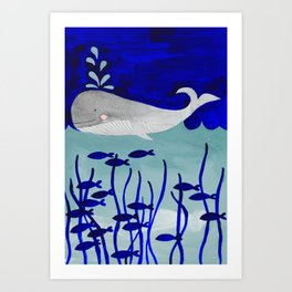 whale in the ocean watercolor illustration Art Print