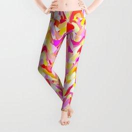 Waves in pink and orange shades, fresh summer color design Leggings