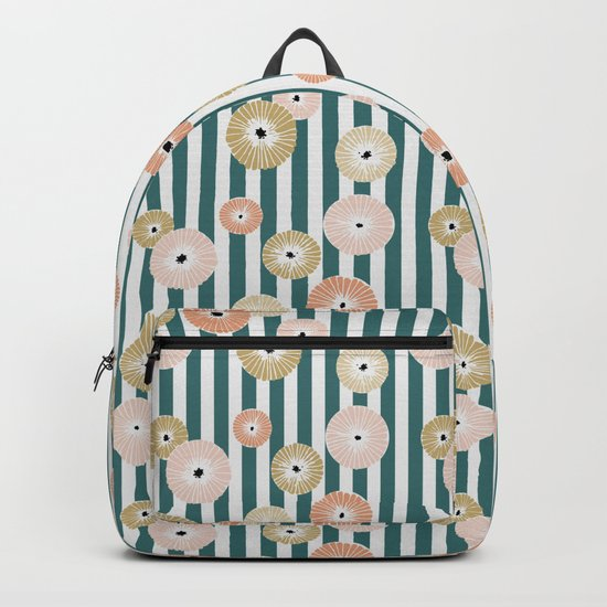 Delicate flowers on stripes Backpack