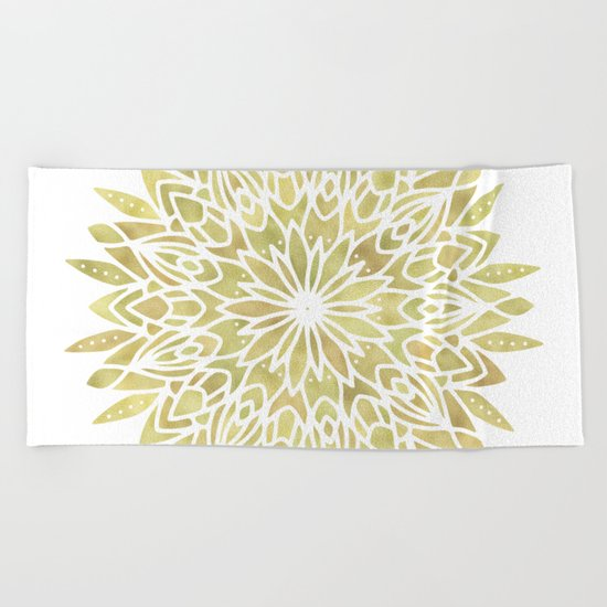 Mandala Yellow Sunflower Beach Towel
