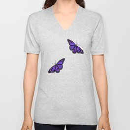 Purple Monarch Butterfly Unisex V-Neck