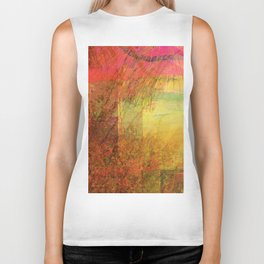 Blossoms Trees Red Yellow Abstract Biker Tank
