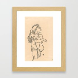 "Egon Schiele ""Seated Nude Girl Clasping Her Left Knee"" Framed Art Print"