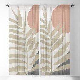 Tropical Leaf- Abstract Art 9 Sheer Curtain