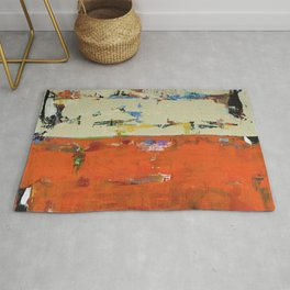 Roadrunner Bright Orange Abstract Colorful Art Painting Rug