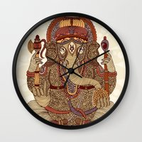 ganesha Wall Clocks featuring Ganesha: Lord of Success by Valentina Harper