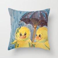 ducks Throw Pillows featuring Ducks by Corinne Fallone