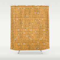 faces Shower Curtains featuring Faces by The Printed Peanut