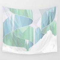 aurora Wall Tapestries featuring aurora by Marta Olga Klara