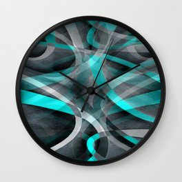 Eighties Turquoise and Grey Arched Line Pattern Wall Clock