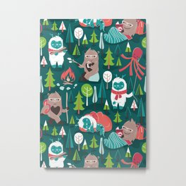 Besties // green background white Yeti brown Bigfoot aqua yellow green and teal pine trees red and coral details Metal Print