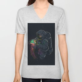 astronaut jellyfish space digital art Unisex V-Neck