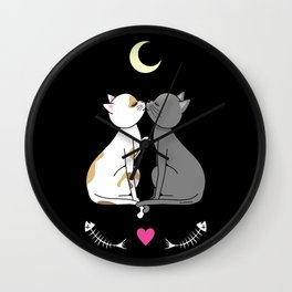 Kawaii cats in love Wall Clock