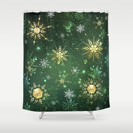 Golden Snowflakes on Green Background Shower Curtain