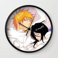bleach Wall Clocks featuring Bleach: Ichigo X Rukia by Neo Crystal Tokyo