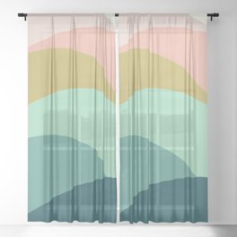 Abstract Mountains Sheer Curtain