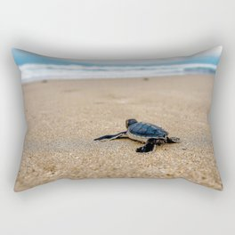 A sea turtle baby aiming at the sea Rectangular Pillow