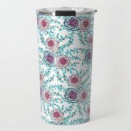 Bluegreen flower pattern Travel Mug