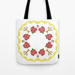 Rose, clock, candelabra mandala Tote Bag
