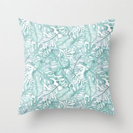 Tropical pink green watercolor hand painted floral Throw Pillow