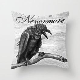 Nevermore Raven Pen & Ink Art Throw Pillow