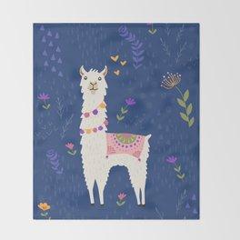 Llama on Blue Throw Blanket