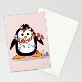 Penguin Christmas lights Stationery Cards