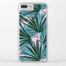 Tropical Palm Leaves in Botanical Green + Pink Clear iPhone Case
