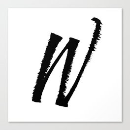 Letter W Ink Monogram Canvas Print