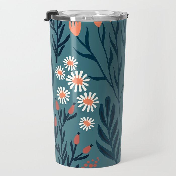 Beautiful Springtime Garden Daisy And Tulip Pattern Travel Mug