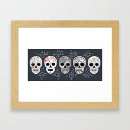 Celebracion de Gris_Calaveras Sugar Skulls line_RobinPickens Framed Art Print
