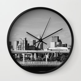 Downtown Louisville - Black and White Wall Clock