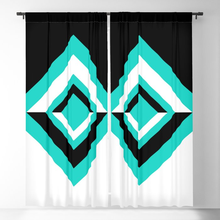 Teal Black and White Diamond Shapes Digital Illustration - Artwork Blackout Curtain