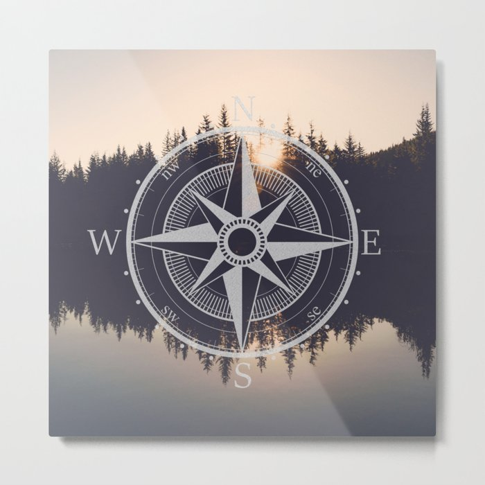 Wooded Lake Reflection Compass Metal Print