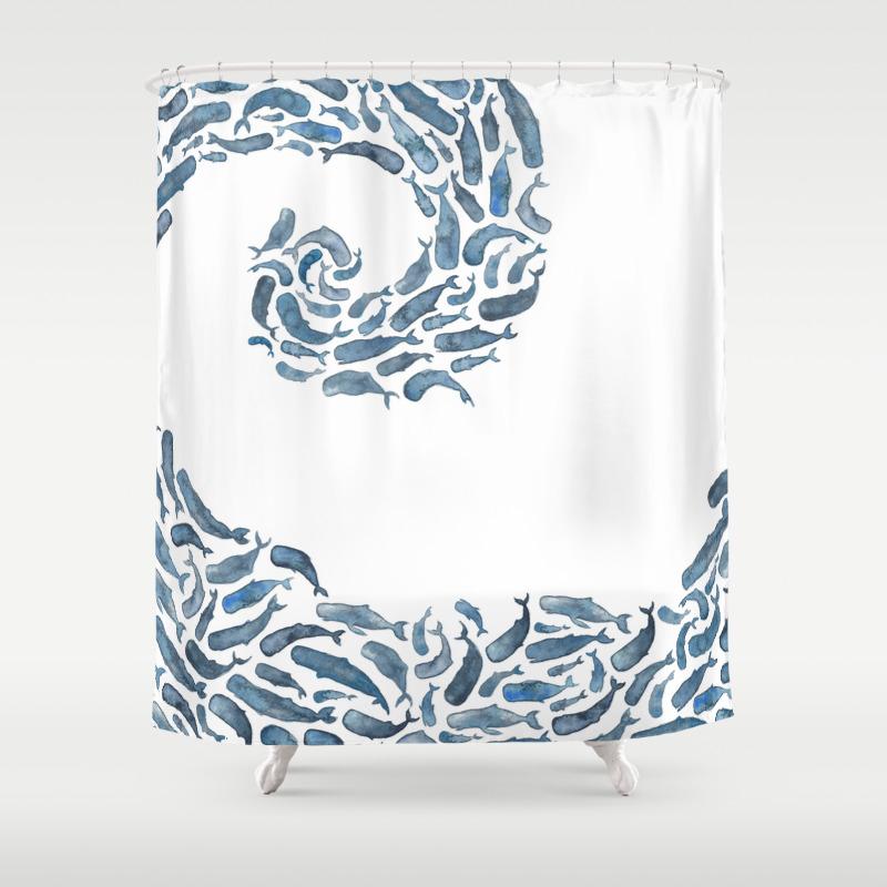 Whale shower curtain - Wave Shower Curtain Wave Shower Curtain 24
