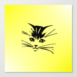 Light Cadmium Yellow Kitty Cat Face Canvas Print