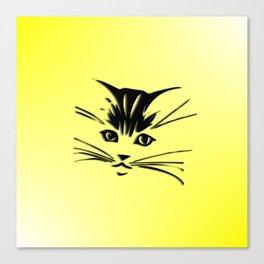 Light Cadmium Yellow Kitty Cat Face Canvas Print