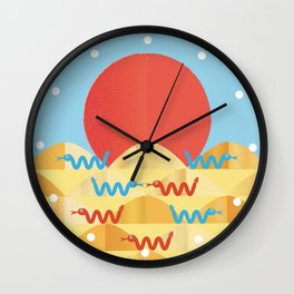 happy snakes making friends Wall Clock