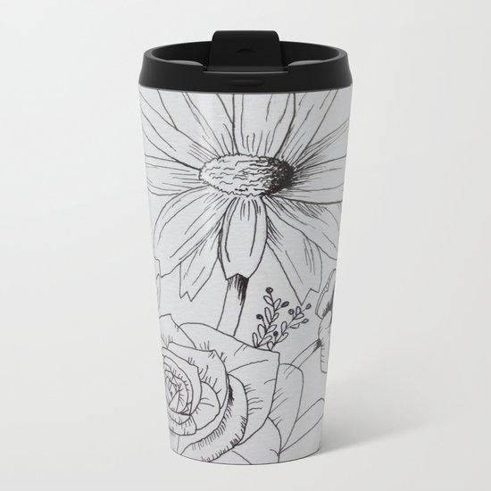 Floral Sketch Metal Travel Mug
