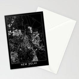 New Delhi Black Map Stationery Cards