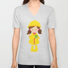 Girl With Brown Hair, Yellow Raincoat, Frog Unisex V-Neck