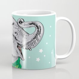 Merry Christmas New Year's card design Elephant head with a raised trunk in a knitted sweater Coffee Mug